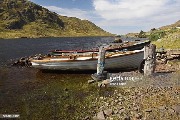 Boat on lough fee on the renvyle peninsula in the connacht region, county galway, ireland
