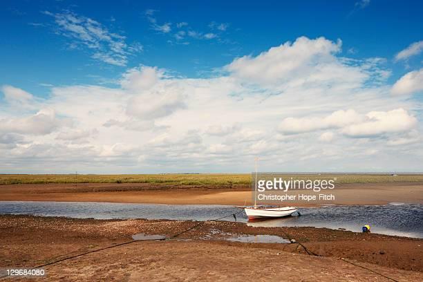 Boat on salt marsh