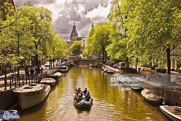 Boat on Spiegelgracht canal, Amsterdam