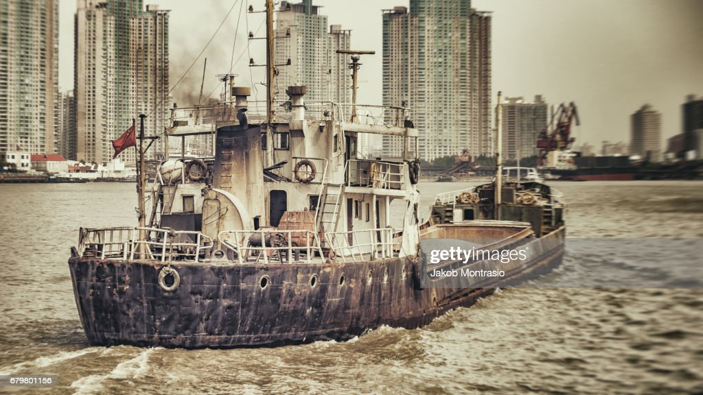 A boat on the Huangpu : Stock Photo