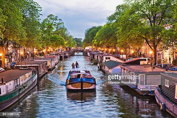Boat on the Keizersgracht canal, Amsterdam