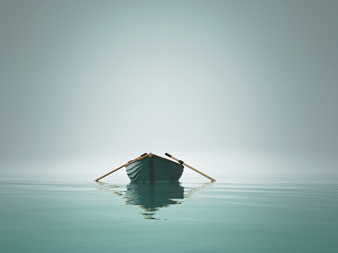 A boat on the lake in the morning. This is a 3d render illustration 1083724806