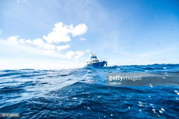 boat on the ocean - pacific ocean stock photos and pictures
