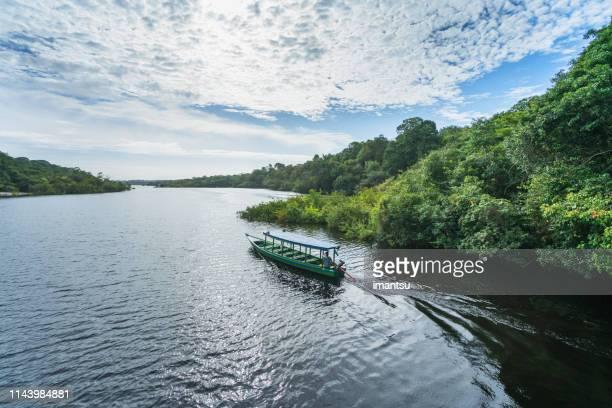 barco en el afluente del río río negro - río amazonas fotografías e imágenes de stock