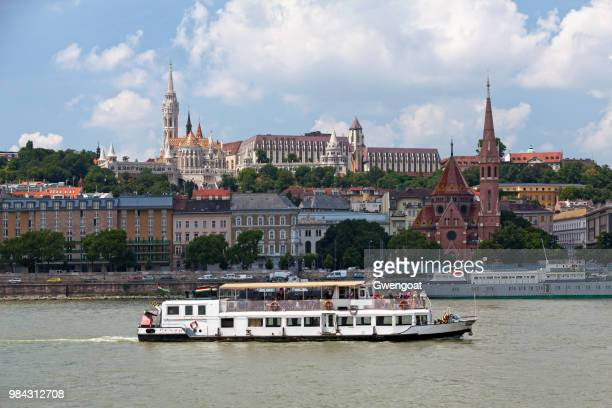 boat passing before castle hill in budapest - gwengoat foto e immagini stock