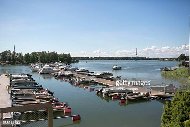 boat pier at Sibeliuksen puisto park in helsinki finland