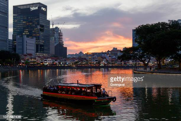 boat quay at sunset - gwengoat stock pictures, royalty-free photos & images