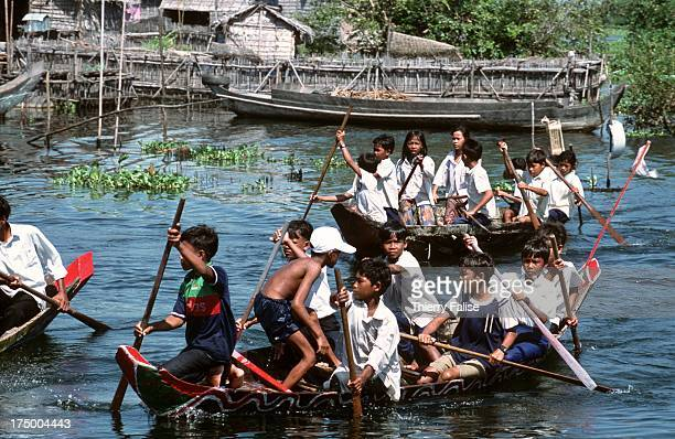 Boat race during the water festival in Kompong Phluik village on the Tonle Sap lake