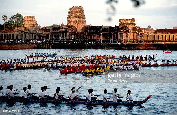 Boat races at the moat of the entrance of Angkor Wat