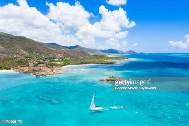 boat sailing, aerial view, caribbean, antilles - barbados stock pictures, royalty-free photos & images