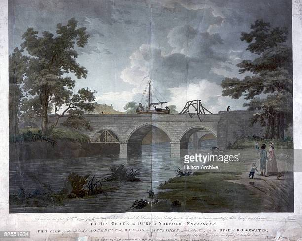 A boat sailing along the Bridgewater Canal aqueduct at Barton Lancashire 1793 The aqueduct was built by engineer James Brindley and carried the canal...