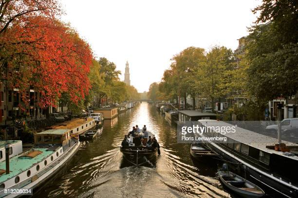 Boat sailing in prinsengracht