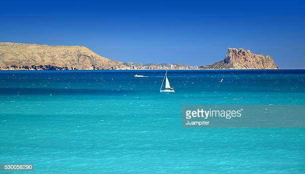 Boat sailing on mediterranean sea