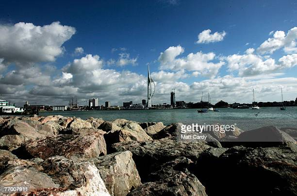 A boat sales past the Spinnaker Tower in Portsmouth Harbour on September 25 2007 in Portsmouth England Originally scheduled for completion in time...