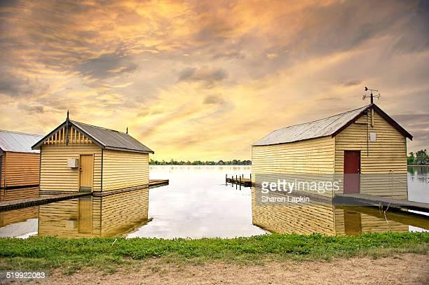 Boat sheds on Lake Wendouree