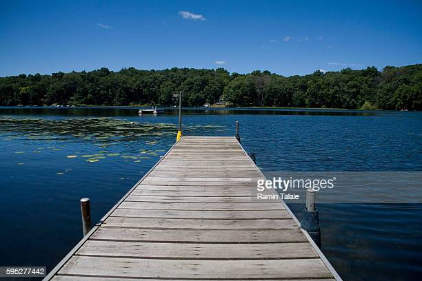 A boat slip at Crooked Lake in Chelsea Michigan