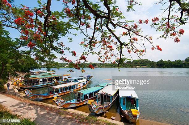 A boat station at Perfume River (Huong river) near Thien Mu pagoda, Hue, Vietnam