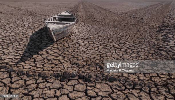 Boat stranded in desert, Little Rann of Kutch, Gujarat, India