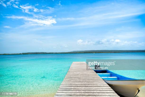 a boat tied next to a wooden pier on a tropical beach - pier stockfoto's en -beelden