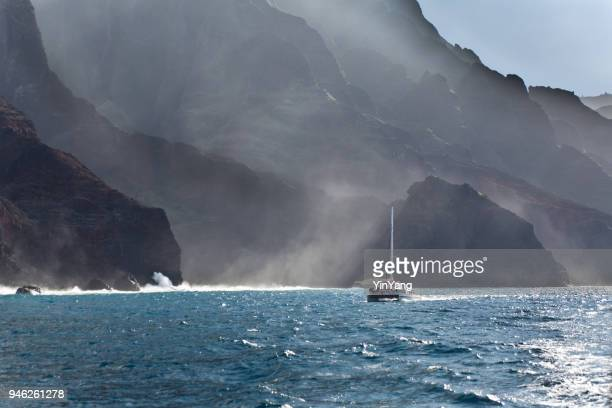 Boat tour on Scenic Landscape of Na Pali Coast of Kauai, Hawaii