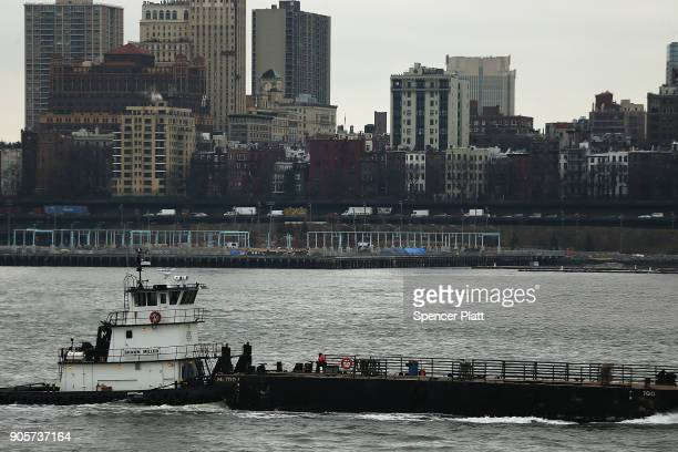 A boat travels in New York Harbor on January 16 2018 in New York City New York Governor Andrew Cuomo has written a letter to Interior Secretary Ryan...