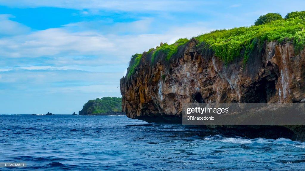 Boat trip through the Bay of Santo Antonio. In front of São José Island . : Stock Photo