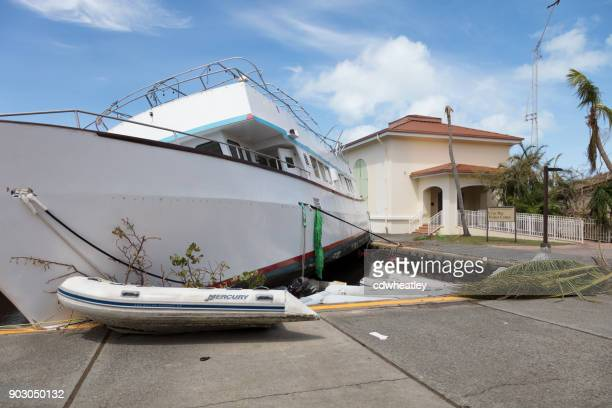 boat up on dock after hurricane irma, st john - spoil system stock pictures, royalty-free photos & images