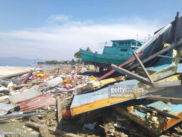 A boat was stranded after being hit by a tsunami in the city of Palu Central Sulawesi on September 30 2018 A magnitude 77 earthquake struck the city...