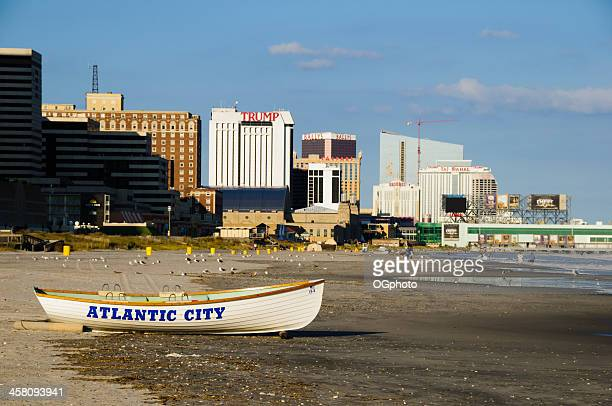 boat with atlantic city skyline - ogphoto stock photos and pictures