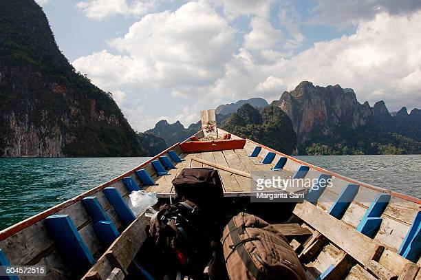 boat with luggage in khao sok lake - sarri stock pictures, royalty-free photos & images