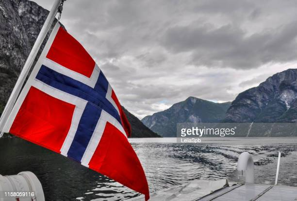 boat with the flag of norway in the fjords - norwegian flag stock pictures, royalty-free photos & images