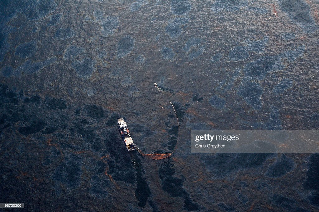 Coast Guard Attempts Burning Off Oil Leaking From Sunken Rig : News Photo
