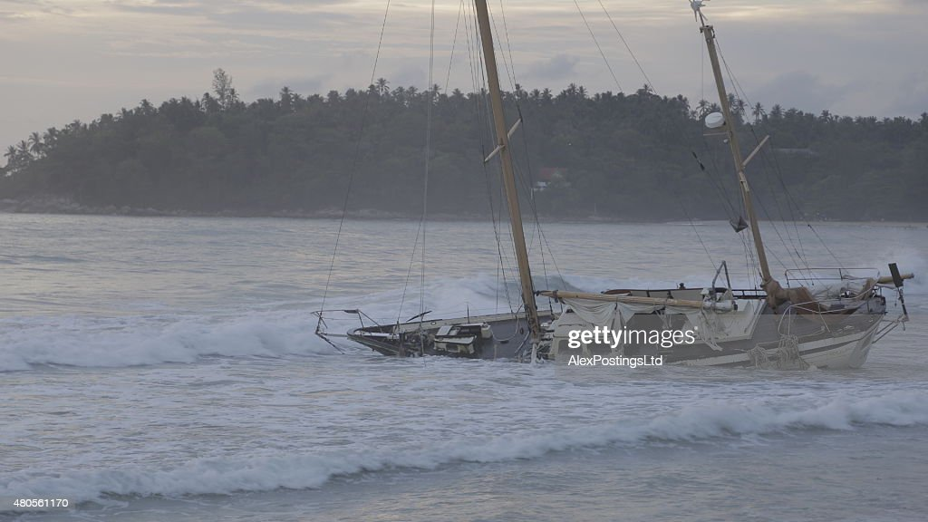 Boat Wreck on Karon Beach : Stock Photo