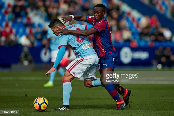 Boateng of Levante UD competes for the ball with Roncaglia of Real Club Celta de Vigo during the La Liga game between Levante UD and Real Club Celta...