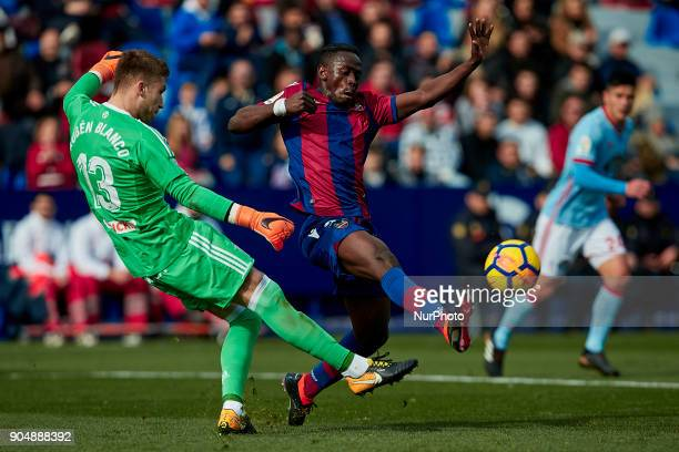 Boateng of Levante UD competes for the ball with Ruben Blanco of Real Club Celta de Vigoduring the La Liga game between Levante UD and Real Club...