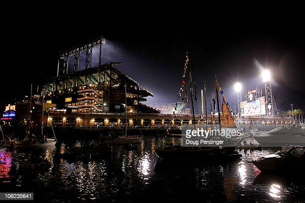 Boaters and fans congregate around McCovey Cove outside of AT&T Park during Game One of the 2010 MLB World Series between the Texas Rangers and the...