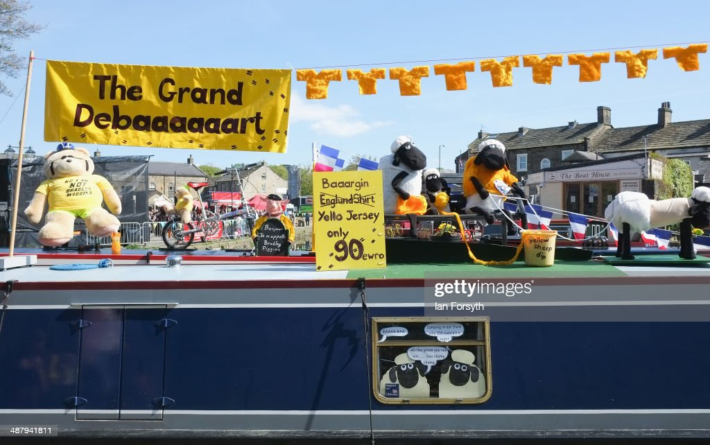 Boaters decorate their canal boats themed to celebrate the Tour de France stages to be held in Yorkshire later in the year as they take part in the Skipton Waterway Festival on May 3, 2014 in Skipton, England. The Waterway festival is a three day annual canal boat event held on the Leeds and Liverpool canal. The event brings together boaters and the local community who take part in the festival activities.