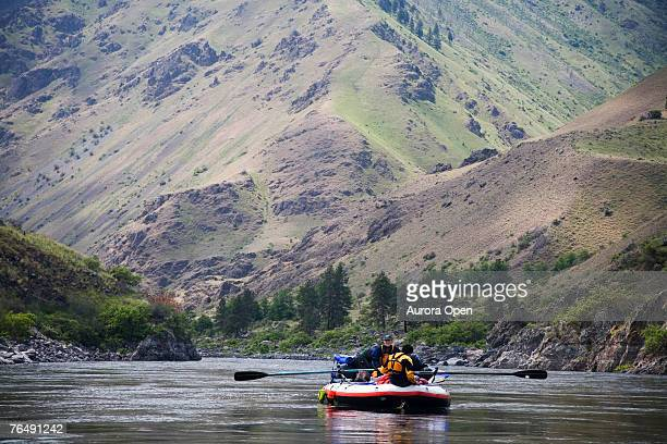 Boaters float down the Snake River in Oregon on an oar rig.