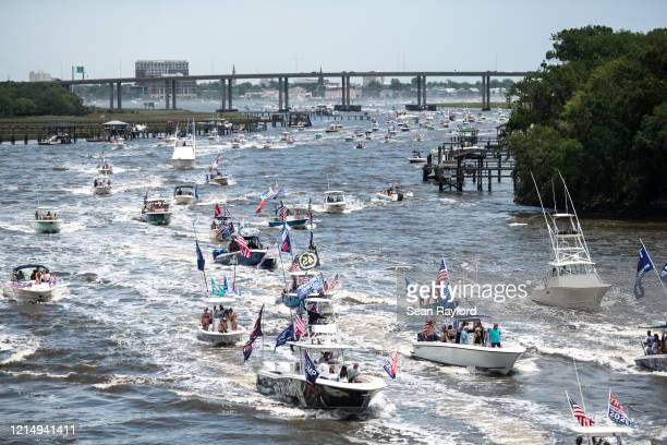 Boaters participate in the Make America Great Again parade May 24 2020 in Charleston South Carolina A Facebook post noted the event which was...