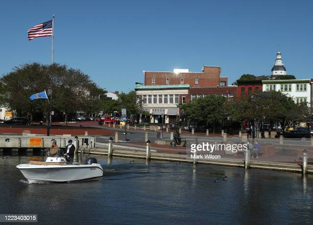 Boaters pull away from the city dock, on May 7, 2020 in Annapolis, Maryland. Governor Larry Hogan has relaxed the ban on outdoor activities, such as...