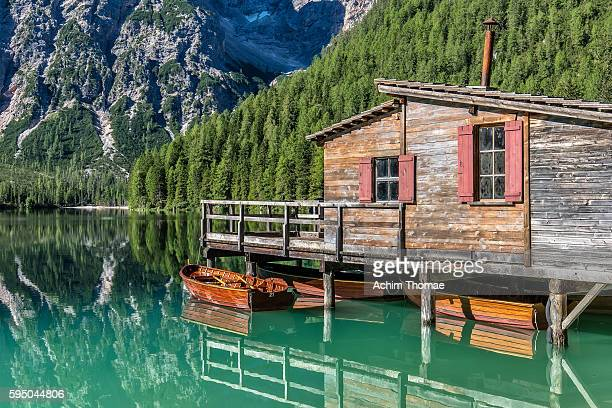 Boathouse at Braies Lake - Dolomite Alps, South Tyrol, Italy