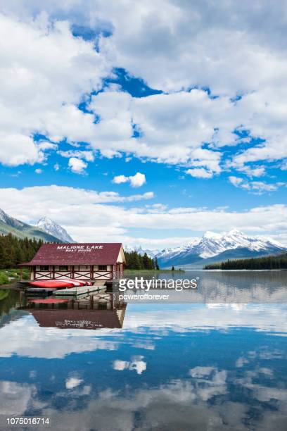 Boathouse at Maligne Lake in the Canadian Rocky Mountains of Jasper National Park, Alberta, Canada