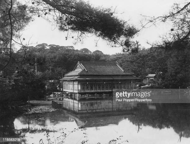A boathouse in the garden of the former Empress of Korea in KeijoFu later Seoul in South Korea circa 1920