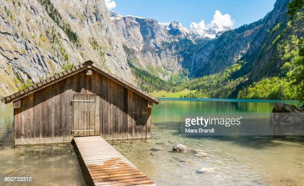 Boathouse in the lake, Obersee, Salet on lake Koenigssee, National Park Berchtesgaden, Berchtesgadener Land district, Upper Bavaria, Bavaria, Germany