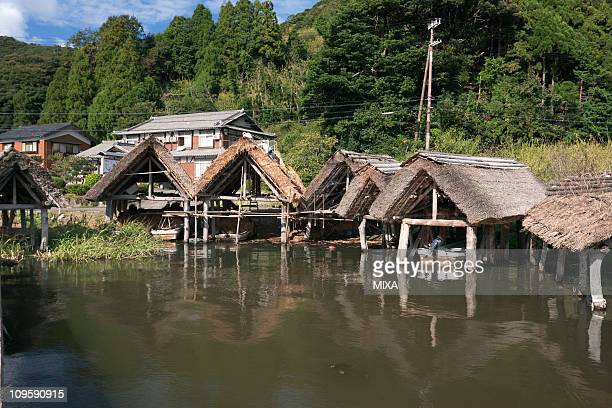 boathouse of lake mikata, wakasa, fukui, japan - fukui prefecture - fotografias e filmes do acervo