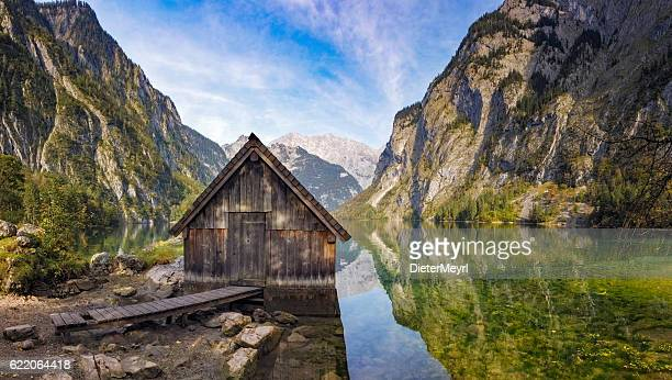 boathouse on obersee near königssee in nationalpark berchtesgaden - königssee bavaria stock photos and pictures