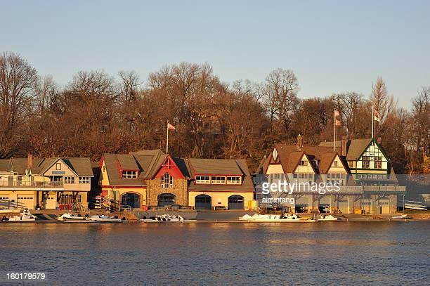 boathouse row a philadelphia - cantiere navale foto e immagini stock