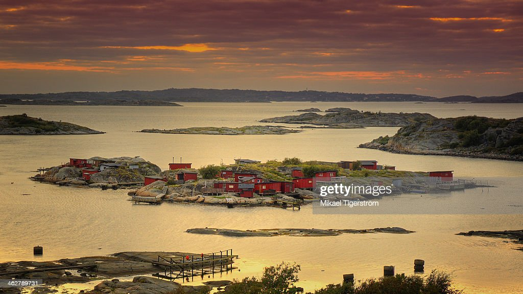 Boathouses in Sweden : Stock Photo
