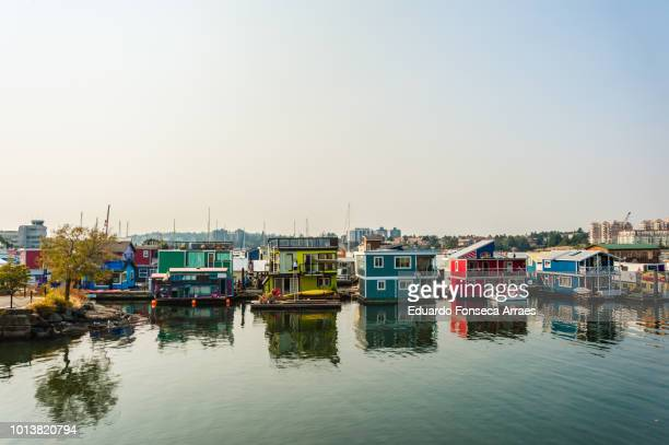 boathouses in victoria - victoria canada stock photos and pictures