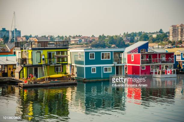 boathouses in victoria - victoria canada stock pictures, royalty-free photos & images